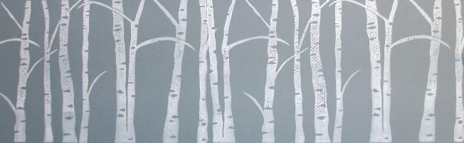 Winterbirken, Linolschnitt