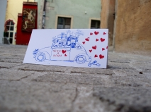 Hochzeitskarte, Handdruck