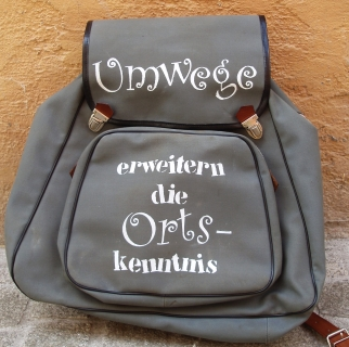 Rucksack aus den 50er/60er Jahren, handbedruckt